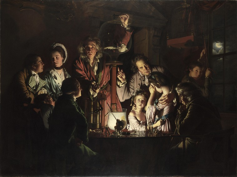 Joseph Wright of Derby, Experiment met een luchtpomp